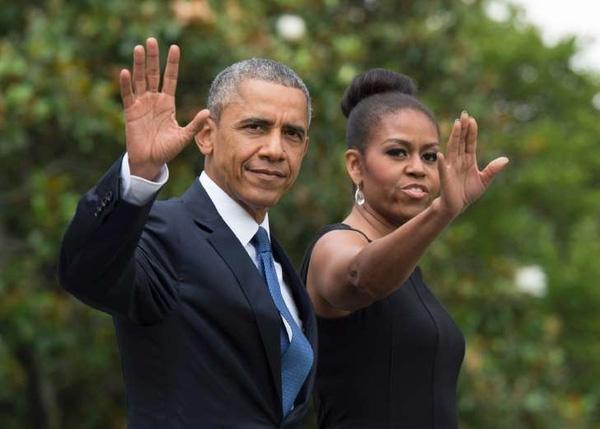 Hình ảnh Tổng thống Barack Obama và vợ.