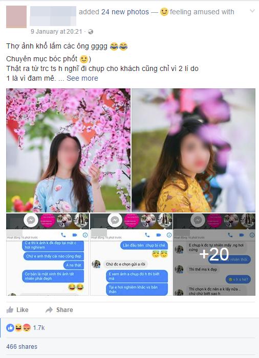 Bức xúc chuyện cô gái cắt tiền công chụp ảnh vì lí do
