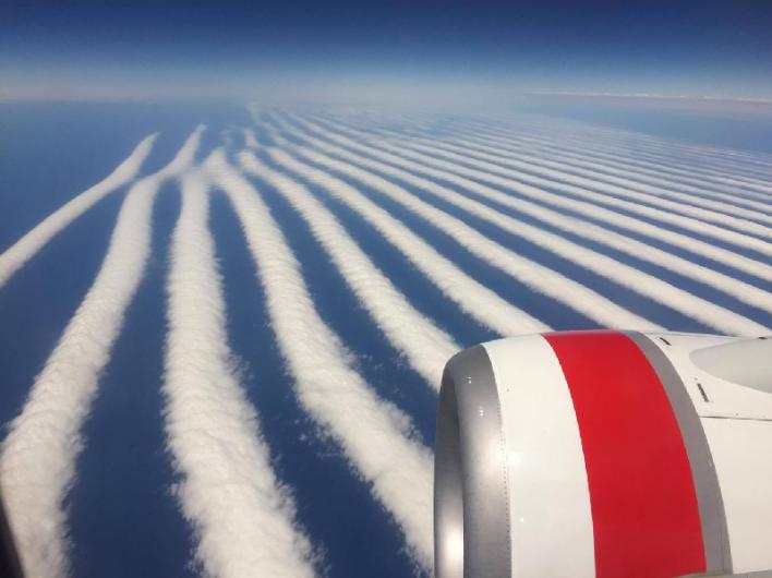 Đám mây xếp hàng thẳng tấp. (Ảnh: internet)