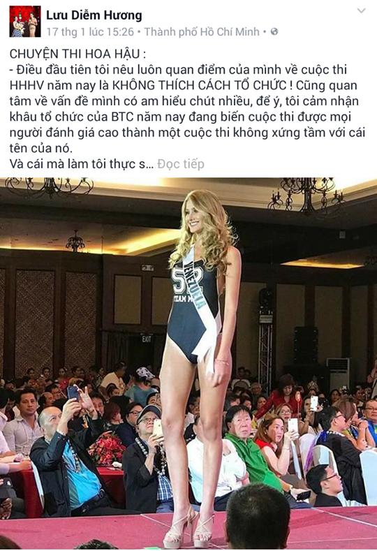"""Hoa hậu Diễm Hương chỉ trích Miss Universe 2016 là """"ao làng"""""""