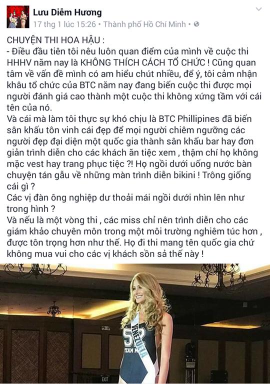 Nguyên văn chia sẻ của Diễm Hương trên trang cá nhân kèm theo bức ảnh của Hoa hậu Venezuela.