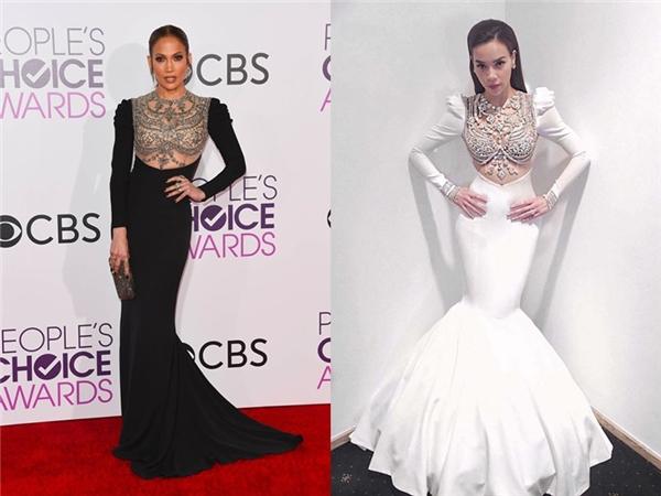 Theo đó, Lý Quí Khánh đưa ra bằng chứng so sánh giữa bộ váy mà anh từng thiết kế riêng cho Hồ Ngọc Hà vào khoảng tháng 10/2016 với bộ váy mà Jennifer Lopez diện cách đây không lâu trên thảm đỏ People's Choice Awards. So về phom dáng, hai bộ váy giống nhau đến 90%, haiđiểm khác biệt là độ phồng của phần đuôi và màu sắc.
