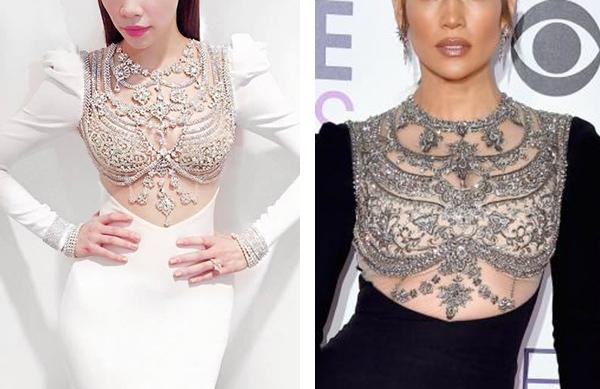 """Jennifer Lopez mặc váy """"nhái"""" của Hồ Ngọc Hà?"""