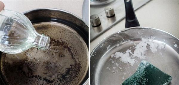 Tẩy sạch vết cháy dưới đáy chảo: Đầu tiên cho giấm vào chảo rồi đun cho sôi. Sau đó cho baking soda vào rồi cọ xung quanh chảo, các lớp cháy sẽ bong tróc dễ dàng.
