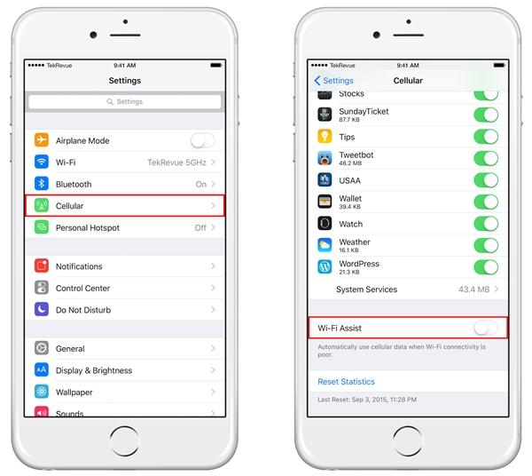 Từ iOS 9 trở đi đã có tính năngWi-Fi Assist.