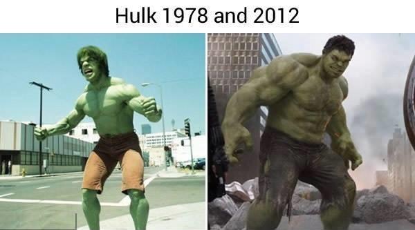 Hulk ngày xưa trông không khác một gã nhà quê lên thành phố, nhưng may mắn với sự hỗ trợ của CGI cộng với tinh thần hăng say luyện tập thể thao, ngoại hình của anh đã được giải ngố, tuy nhiên chiếc quần đùi thần thánh của anh thì lại có vẻ xuống cấp hơn hẳn.