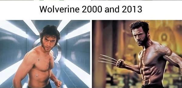 Vẫn là do một diễn viên thủ vai, nhưng Wolverine ngày xưa so với ngày nay thì chẳng khác nào một cậu nhóc trung học mới trổ mã lại đi đua đòi làm siêu anh hùng.
