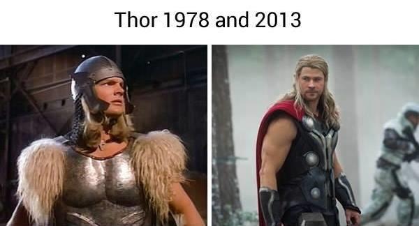 Nếu ai gặp anh chàng bên trái mà được nghe giới thiệu đấy là thần thánh từ hành tinh khác đến thì chắc... cấp tốc đi tìm đĩa bay trả anh ta về ngay và luôn mất. Còn nếu gặp Thor Chris Hemsworth xin vui lòng bắt cóc về nhốt trong nhà để ngắm mỗi ngày.