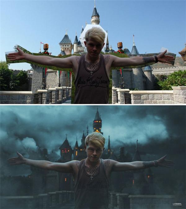 Có ai ngờ lâu đài Disneyland màu sắc lại có thể trở nên u ám như vậy chứ.