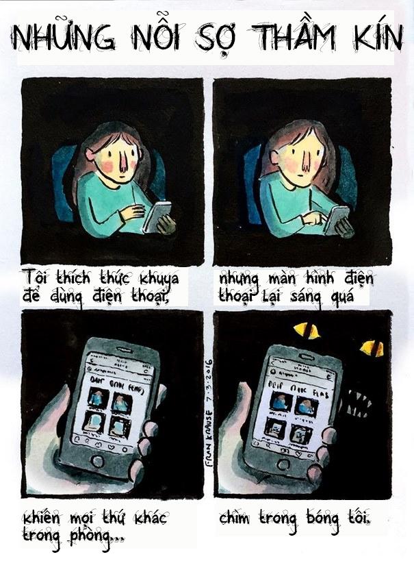Và vì bạn chỉ nhìn thấy được mỗi cái màn hình điện thoại thôi nên không biết xung quanh mình, trong bóng tối còn bao nhiêu thứ khác đang âm thầm nhìn bạn đâu.