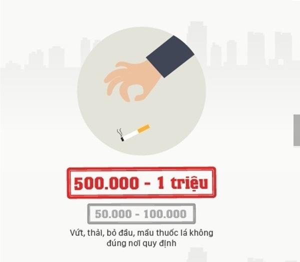 Vứt tàn thuốc lá ở những nơi công cộng như khu vui chơi dành cho trẻ nhỏ, công viên, bệnh viện hay khuôn viên khu chung cư, trung tâmthương mại sẽ bị phạt từ 500.000 – 1 triệu đồng.