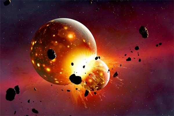Phác họa vụ va chạm Mặt Trăng đâm vào Trái Đất.