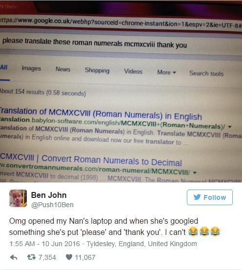 Bức ảnh được Ben John chia sẻ trên Twitter về người bà của mình.