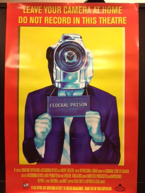Một poster của chiến dịch chống quay phim trái phép các tác phẩm điện ảnh.(Ảnh:Internet)