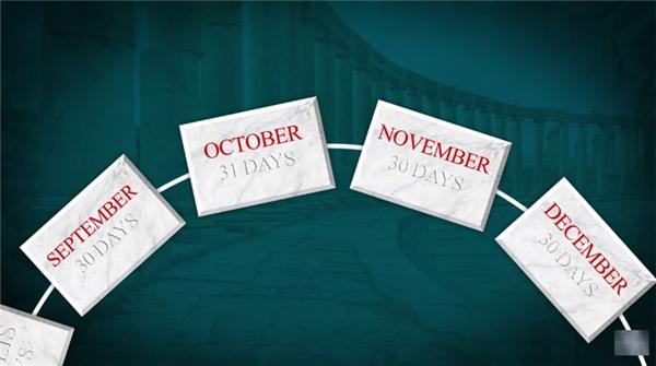 Hoàng đế Romulus đã tạo ra cho họ một bộ lịch, có điều bộ lịch này chỉ có 10 tháng, bắt đầu từ điểm xuân phân của tháng Ba và kết thúc vào tháng Mười Hai, mỗi tháng có 30 hoặc 31 ngày.