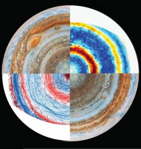 Bức ảnh so sánh giữa vùng cực Bắc và cực Nam trên Sao Mộc