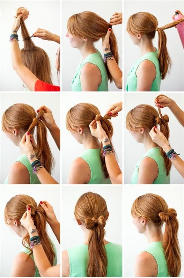 Chỉ với chiếc thun buộc tóc và một chút cách điệu là bạn đã có mái tóc đuôi ngựa thắt nơ vô cùng duyên dáng rồi.