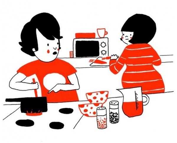 Thỉnh thoảng mình cùng nhau vàonhà bếp.