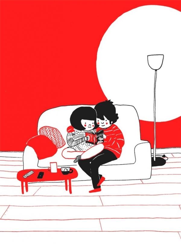 Hay ôm ấp nhau đọc cho hết một quyển truyện yêu thích.
