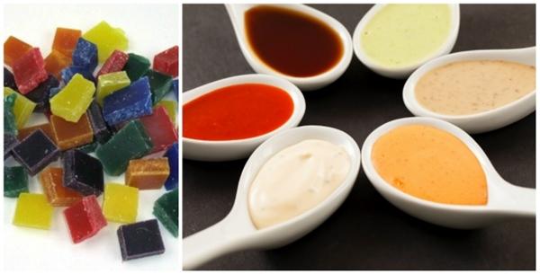 Nước sốt được pha với sáp. Để cho những chén nước sốt lên hình đẹp đồng đều nhau, người ta trộn sáp nấu chảy có nhiều màu khác nhau vào từng chén nước sốt.