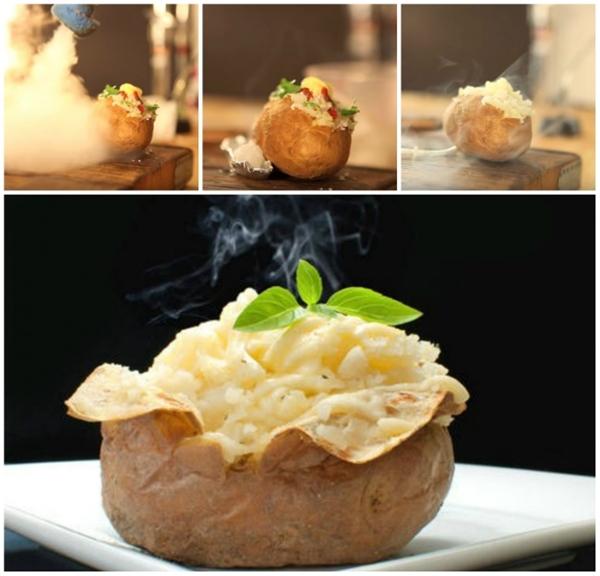 Thức ăn bốc hơi là nhờ khói giả. Vì những món đồ ăn chụp trong studio đều không phải vừa mới nấu chín và không nóng nên người ta phải tạo khói giả cho chúng bằng nhiều cách khác nhau.