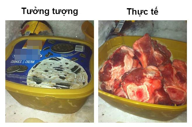 """""""Bi kịch"""" tuổi thơ có thể được kể như sau: đi học về nóng muốn vỡ đầu - mở tủ lạnh tìm nước uống -thấy hộp kem ngon lành - """"hôm nay mình ăn may rồi"""" - mở hộp ra thì thấy toàn thịt / cá sống."""