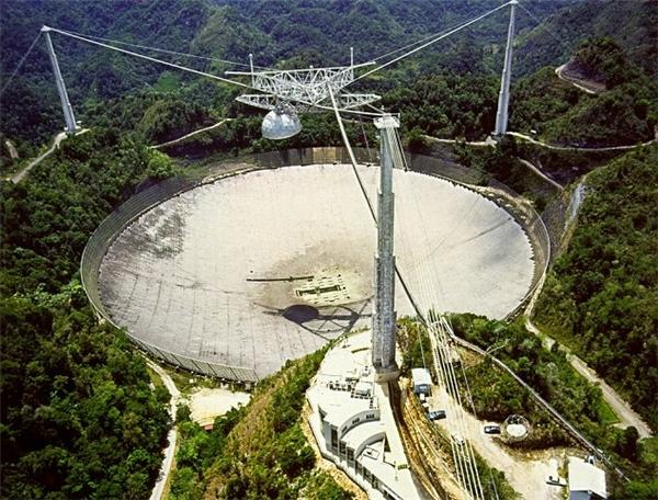 Kính viễn vọng mang tên Đài quan sát Arecibo, đặt tại Puerto Rico.