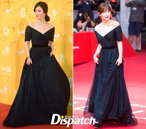 """Với bộ váy đen """"đụng hàng"""" đàn chị Song Hye Kyo, mỹ nhân Park So Dam không hề kém cạnh với vẻ ngoài trẻ trung, ngọt ngào."""