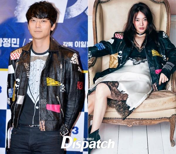 """""""Cáo 9 đuôi"""" Shin Min Ah tự tin diện áo khoác bomber cá tính dù có vẻ ngoài vô cùng ngọt ngào, mong manh. Trang phục của cô được mang ra so sánh với 2 mĩ nam: Yi Dong-hwi nam diễn viên Reppy 1988 và """"vua bánh mì"""" Kang Dong Won."""