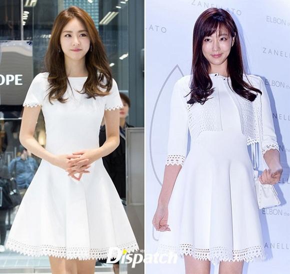Nếu như Lee Yeon Hee chọn cách diện bộ váy trắng xòe đơn thuần thì Kim Sarang lại phối thêm áo lưới nhẹ nhàng bên ngoài và thêm chiếc túi hiệu màu trắng đồng điệu.