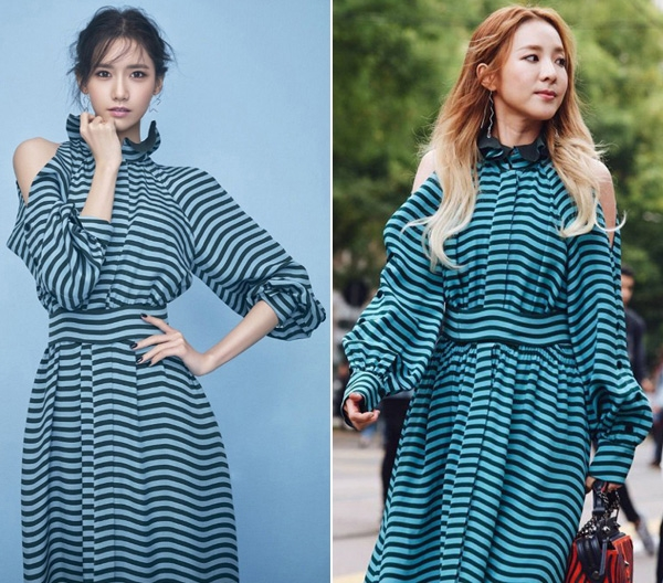 Mái tóc màu đen điệu đà của Yoona có phần phù hợp với trang phục hơn Sandara Park khi diệng cùng mẫu váy ngọt ngào với điểm nhấn là những đường kẻ sọc với hai tông màu đen, xanh.
