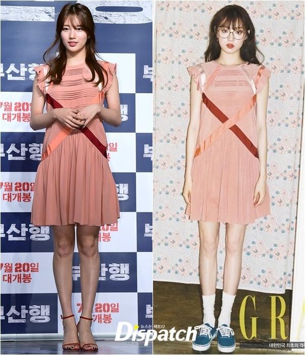 Giày sandal quai mảnh của Suzy giúp cô ghi điểm hơn hẳn Lee Sung-Kyung với công thức phối giày thể thao lạ mắt nhưng không mấy phù hợp.