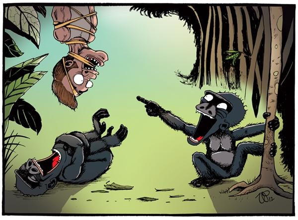 Nhìn thấy con người đang đi thơ thẩn trong rừng, hai tên khỉ liền vây bắt và trói gô nó trên một cành cây cao, đầu chúc ngược xuống đất. Chọc ghẹo chán, chúng rủ nhau bỏ ra về mà quên thả con người đó ra mãi cho đến sáng ngày hôm sau.