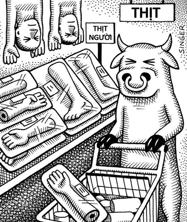 Bò mẹ đẩy xe đi dọc gian hàng đông lạnh. Thịt người ăn mãi cũng chán, có lẽ tối nay nên đổi sang món nào đó ít đạm một chút cho nhẹ bụng chăng?