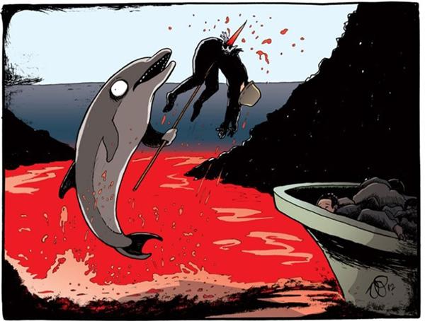 Sau khi nhử bầy người xuống nước, bọn cá voi liền dùng xiên kết liễu chúng rồi vứt xác chất đống trên bờ, máu nhuộm đỏ cả một vùng biển. Lễ hội săn người còn lâu mới kết thúc.