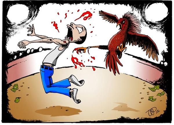 Sôi máu vì thua trận đấu vật, gã chủ gà liền xông tới cào cấu, mổ và đâm túi bụi khắp mình mẩy con người đáng thương. Bao nhiêu tiền hắn đều nướng cả vào trận này rồi, thế mà…