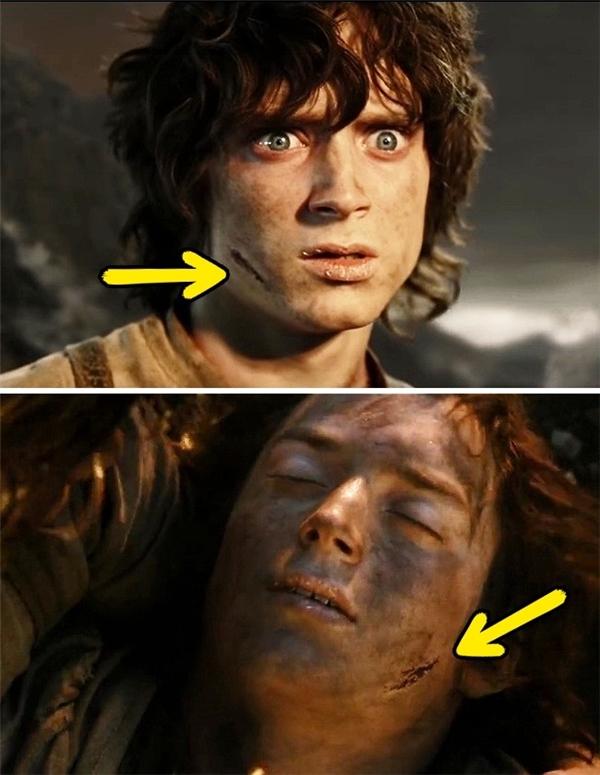 The Lord of the Rings: The Return of the King (2003): Còn vết sẹo trên mặt của Frodo thì chắc chắc là có bàn tay pháp thuật nào can thiệp vào rồi, vì nó liên tục di chuyển vị trí trên má, thậm chí còn nhảy từ má này sang má kia nữa.