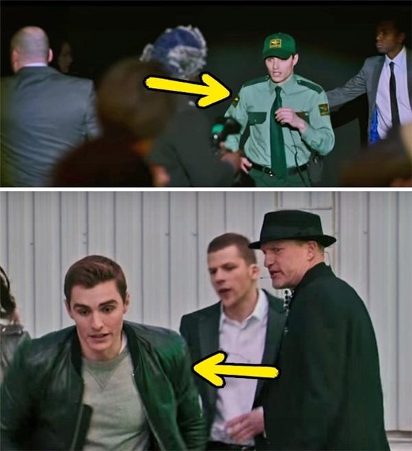 Now You See Me 2 (2016): Dù đang vội vã chạy trốn FBI nhưng Jack vẫn có đủ thời gian thay bộ đồng phục bảo vệ sang quần áo thường.