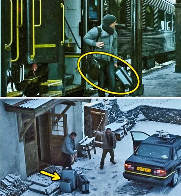 The Girl with the Dragon Tattoo (2011): Số hành lý mà Blomkvist mang đến Hedestad trong hai cảnh phim là hoàn toàn khác nhau.