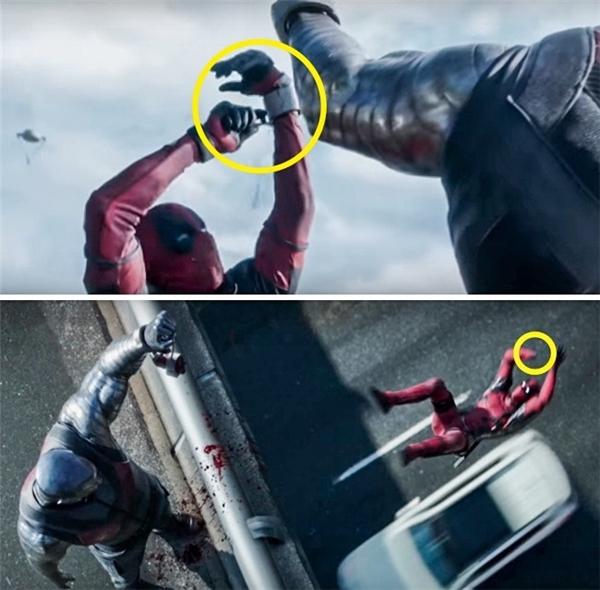 Deadpool (2016): Khi Deadpool cắt lìa bàn tay, đó là tay trái. Nhưng khi hắn rơi khỏi cầu thì bàn tay bị cụt lại là tay phải.