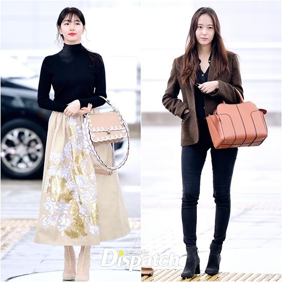 """Cùng tuổi nhưng Suzy và Krystal lại sở hữu hai phong cách hoàn toàn khác nhau. Trong khi nàng """"tình đầu quốc dân"""" theo đuổi hình ảnh thuần khiết, trong sáng thìKrystal được tôn làm """"nữ thần"""" với đường nét thanh tú, """"sang chảnh"""" đại diện cho vẻ đẹp hiện đại cá tính."""