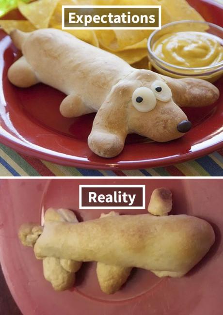 Định làm bánh hình chú chó nhưng lại ra hình giống như một con cá.