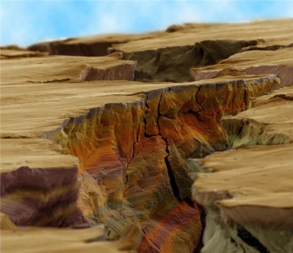 """""""Khe vực"""" này thực chất là một đường nứt rất nhỏ trên thép. """"Kì diệu"""" như lạc vào một vùng đất khác phải không?"""