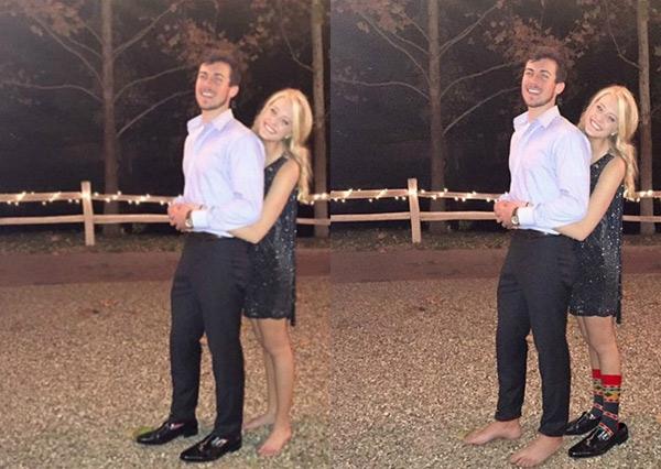 Vì nhờ James giúp bạn gái đeo giày, nên nam chính phải chịu khó đi chân đất vậy thôi.