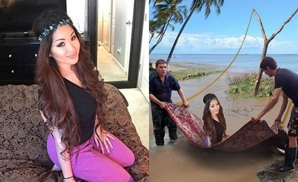 Cô gái với ước mơ được ngự tại tấm thảm thần bay trên đại dương.