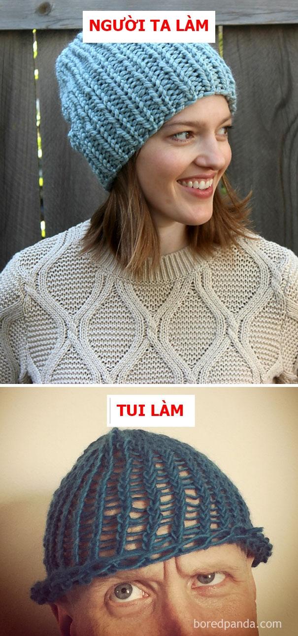 Người ta:mũ lenmùa đông thời thượng. Tui: thời trang mũ lưới thưa lên ngôi.